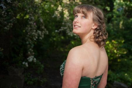 Girl in prom dress